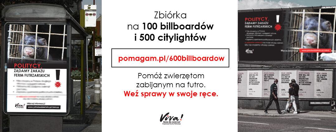 Zbiórka na 600 antyfutrzarskich billboardów i citylightów